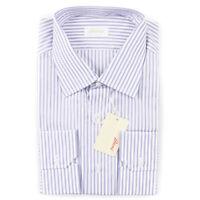 NWT $995 BRIONI Classic-Fit Blue Striped Extrafine Cotton Dress Shirt 16 x 35