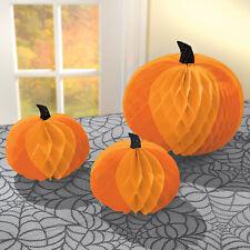 3x Halloween Naranja Panal Calabaza Colgante o Mesa Decoración Fiesta
