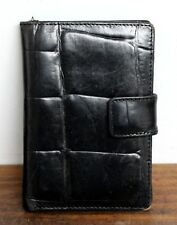 "4.5""x3.25"" ALLEN JOLLY BLACK CROCO EMBOSSED REAL LEATHER BIFOLD ORGANIZER WALLET"