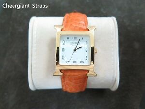 Hermes crocodile strap watch band Made In Taiwan Cheergiant straps 愛馬仕鱷魚手工錶帶