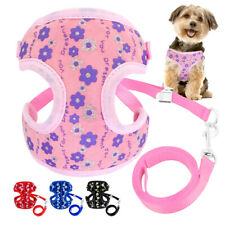 Pet Dog Harness & Leash Mesh Padded Vest Flower Sequins Adjustable for Chihuahua