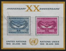 UN Scott #NY 145, Souvenir Sheet 1965 Complete Set FVF Used