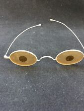 Eyeglasses 1860-1880 Antique Civil War Era Shooters Frosted Amber Lens Genuine