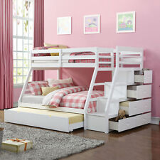 Trundle Bunk Bed with Stairs White Finish Jason Twin Over Full