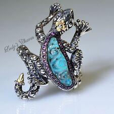 Barbara Bixby Gemstone Doublet Gecko Sterling Silver 18k Gold Ring Size 9