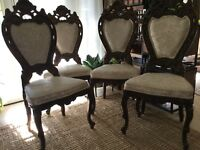Midcentury American Victorian St Solid Carved Wood Dining room side 6 pc Chairs