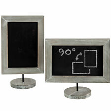Tabletop Rustic Gray Wood Vertical /Horizontal Framed Chalkboard Signs, Set of 2