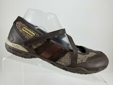 Skechers Brown Textile Leather Slip On Mary Jane Flats Loafers Womens 9.5M
