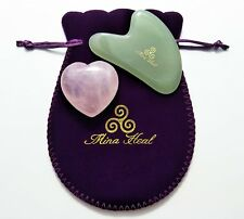 Value Pack: Gua Sha Skin Care Jade Stone Facial Massager and Heart Shaped Rose