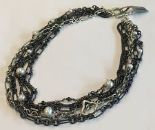 DAVID YURMAN Midnight Pearl Mixed Chain Hematite Silver Necklace $1950 NWT 18""
