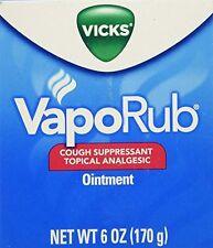 6 oz Vicks VapoRub Vapo Rub Chest Rub Jar Cough Suppressant Ointment
