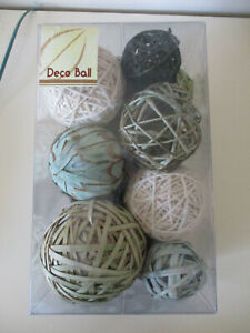 DECO BALL BLUE/GREEN SHADES WOODEN NATURAL BALLS DECORATION SET - LARGE