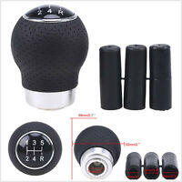 Black Leather 5-Speed Manual Transmission Vehicles Gear Shift Knob Shifter Lever