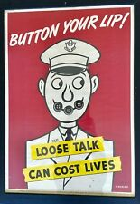 1942 Soglow US WW2 propaganda poster - Button Your Lip! Loose Talk costs lives