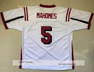 Patrick Mahomes #5 Whitehouse High School Football Jerseys White Red S-4XL