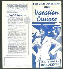 1940 Swedish American Line Vacation Cruises Brochure