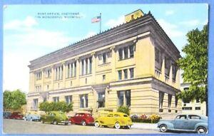 Postcard - Post office, Cheyenne, Wyoming - 1930s cars
