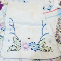 Vintage Floral Embroidered Cotton Table Runner - 34 x 41 Inch