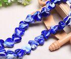 10pcs 18mm Heart Stripe Lampwork Glass Finding Charms Loose Beads Royal Blue