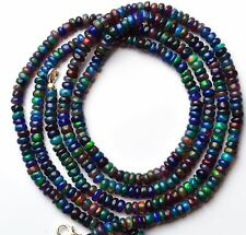 """46CTS. ETHIOPIAN WELO BLACK OPAL FLASHING FIRE 4MM RONDELLE BEADS NECKLACE 17"""""""