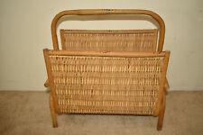 Vintage Bamboo Wicker Rattan Magazine Rack Holder