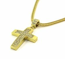 "Mens 14k Gold Filled Fully Cz Cross Pendant Hip-Hop 24"" Franco Necklace Chain 03"