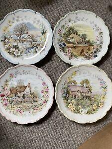 Royal Albert 1984 Cottage Garden Year Series Set of 4 Four Seasons Plates