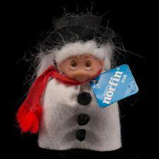 """DAM Norfin Snowflake Snowman Troll Doll 3"""" White Hair Felt Clothes With Tag"""