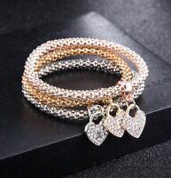 Popcorn Mesh Stretch Bracelet Tri Color 14K Rose Gold with Swarovski Crystals