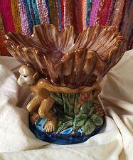 Vintage Ceramic Majolica Drip Style Monkey Pedestal Fruit Dish Stand