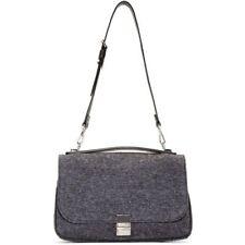 $1750 Proenza Schouler Grey and Black Felted Wool Kent Shoulder Bag