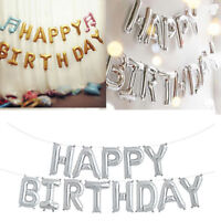 """17"""" Self Inflating Happy Birthday Banner Foil Balloon Bunting Gold Letters"""