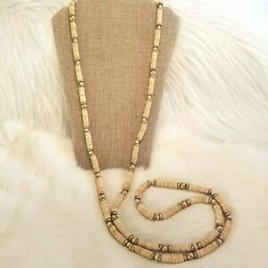 Vintage Flapper Wood Necklace Painted Gold Beads Extra Long Natural 5092