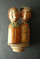Vintage ANRI Wood Kissing Man and Woman Bottle Stopper