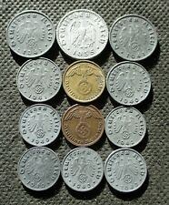 LOT OF TWELVE OLD COINS OF THIRD REICH GERMANY WORLD WAR II SWASTIKA - MIX 350