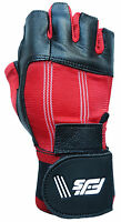 NEW WRIST SUPPORT STRAP LEATHER WEIGHT LIFTING BODYBUILDING GYM EXERCISE GLOVES