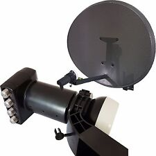 60cm MK4 Satellite Dish & Quad 4 Port LNB With Spirit Level - For Sky HD/Freesat
