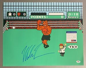 Mike Tyson Signed 16x20 Nintendo Punch-Out Boxing Photo PSA/DNA COA