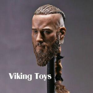"""1/6 Viking Male Head Sculpt Long Beard Head Carving Model Fit 12""""Muscle Body Toy"""