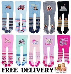 ANTI SLIP Baby BOYS GIRLS Cotton Mix Tights Leg Warmers Socks 0 - 18 Months