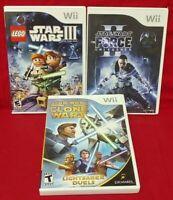 LEGO Star Wars III, Clone Wars Lightsabre, Unleashed II Nintendo Wii 3 Game Lot