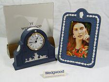 """Wedgwood """" Jasper Ware """" Portland Blue Laurel Mantle Clock & Large Picture Frame"""