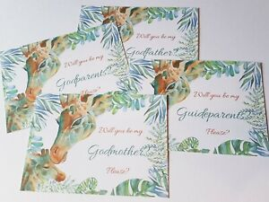 Will you be my Godfather/Mother/Parent Cards Giraffe Themed PERSONALIZED