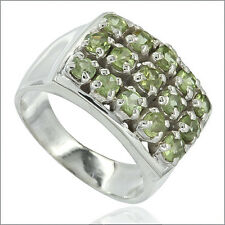 4.0ct Peridot In Sterling Silver Birthstone Cocktail Ring Size 8 #91041