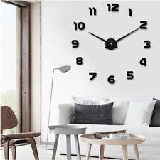 New Modern Clock DIY Large 3D Number Black Wall Sticker Home Big Watch Art Decor