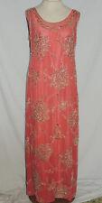 1920-30's Rose Silk Chiffon Gown w Metallic Embroidery / Beads SM b- 35
