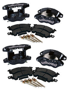 WILWOOD D52 BRAKE CALIPER & PAD SET W/PINS,FRONT & REAR,1.28,BLK,BIG GM CALIPERS