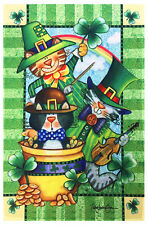 "St. Patrick's Day Decorative Garden Flag 12""X18"" Pot of Gold Clover Irish Green"