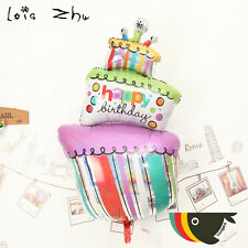 "37"" Happy Birthday cake foil balloon  95cm x 53cm  37"" x 21""  candles cupcake"