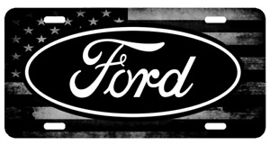 Ford US American Flag Tactical Black And White Aluminium License Plate